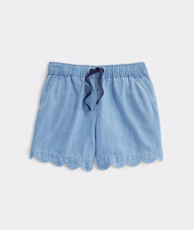 Girls' Scallop Chambray Shorts