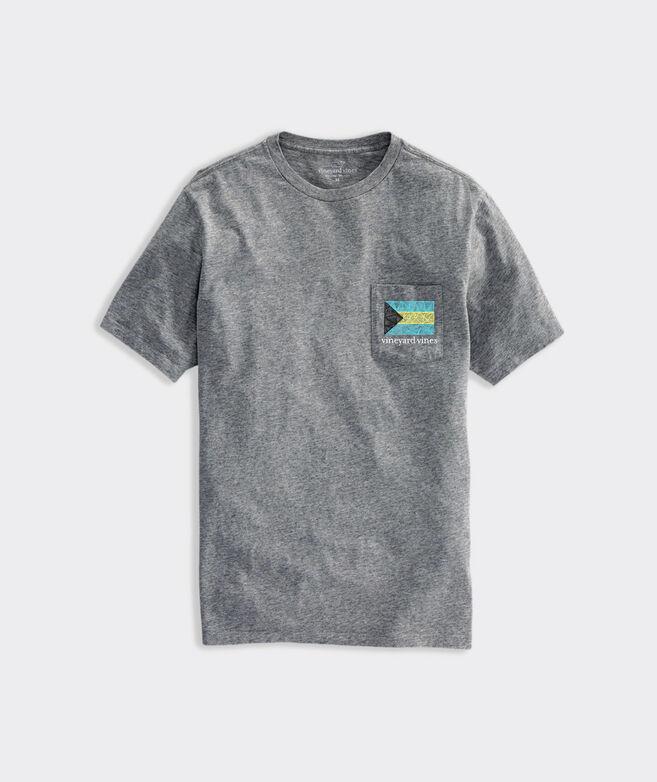 Bahama Flag Hatched Short-Sleeve Pocket Tee