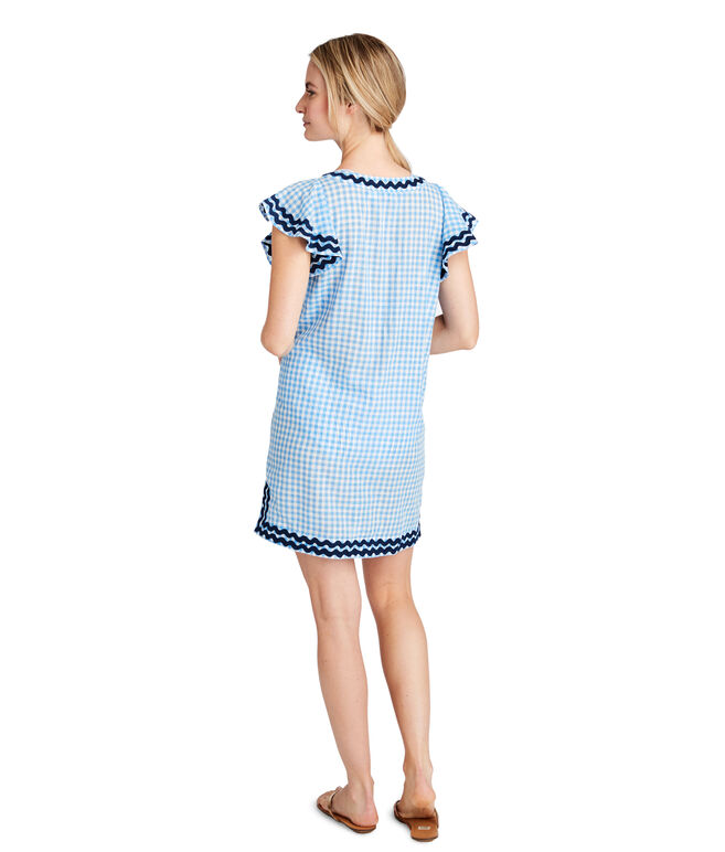 Gingham Ruffle Sleeve Embroidered Cover-Up