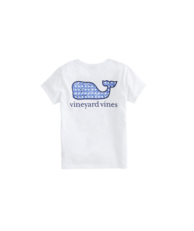 Girls' Painted Rattan Whale Short-Sleeve Pocket Tee