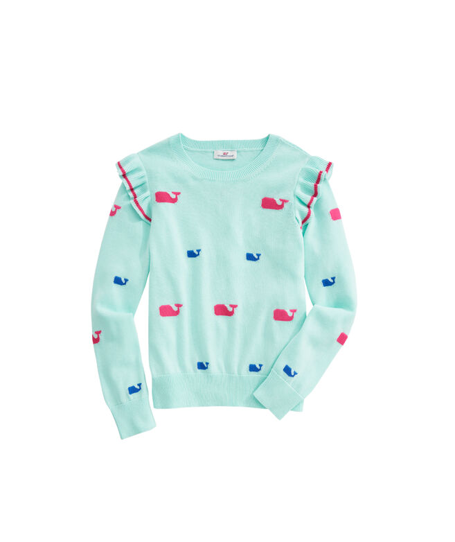 OUTLET Girls All Over Whale Ruffle Sweater