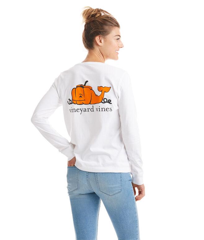Long-Sleeve Pumpkin Whale Pocket Tee