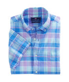 Short-Sleeve Lagoon Pond Plaid Classic Murray Shirt