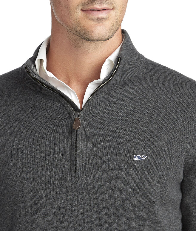 Palm Beach Cotton-Cashmere 1/4-Zip Sweater