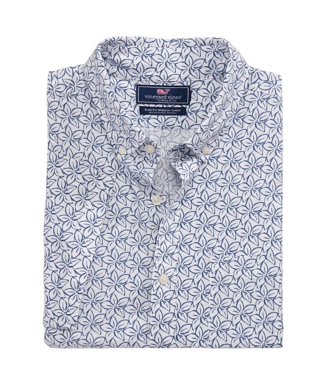 Slim Fit Linear Floral Geo Murray Short-Sleeve Button-Down Shirt