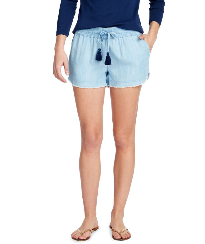 Chambray Fray Hem Pull-On Shorts