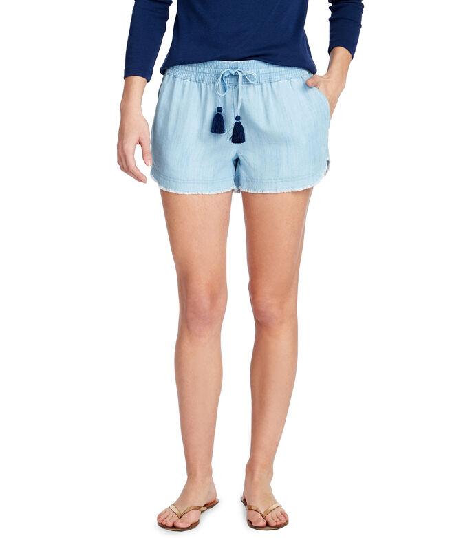 Chambray Fray Hem Pull-On Shorts