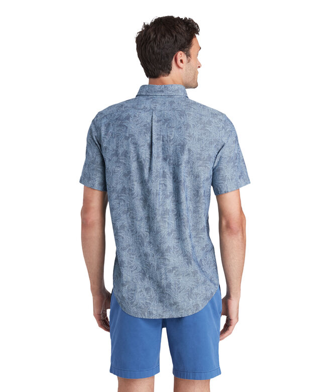 Slim Fit Sea Leaves Short-Sleeve Murray Shirt
