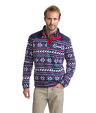 Fair Isle Snap Placket Fleece Pullover