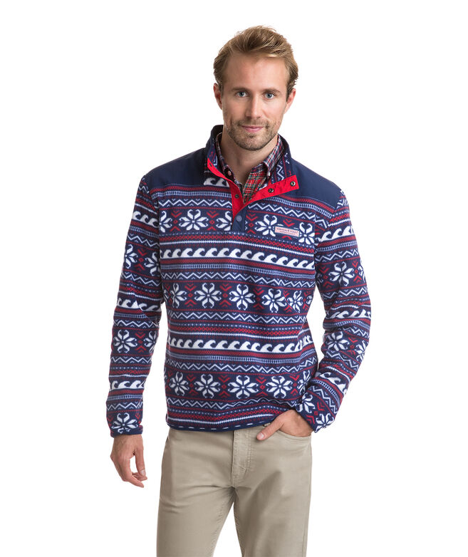 Fair Isle Snap Placket Fleece Pullover Shep Shirt