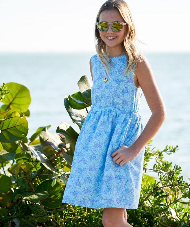 Girls Turtle Print Woven Tie Back Dress