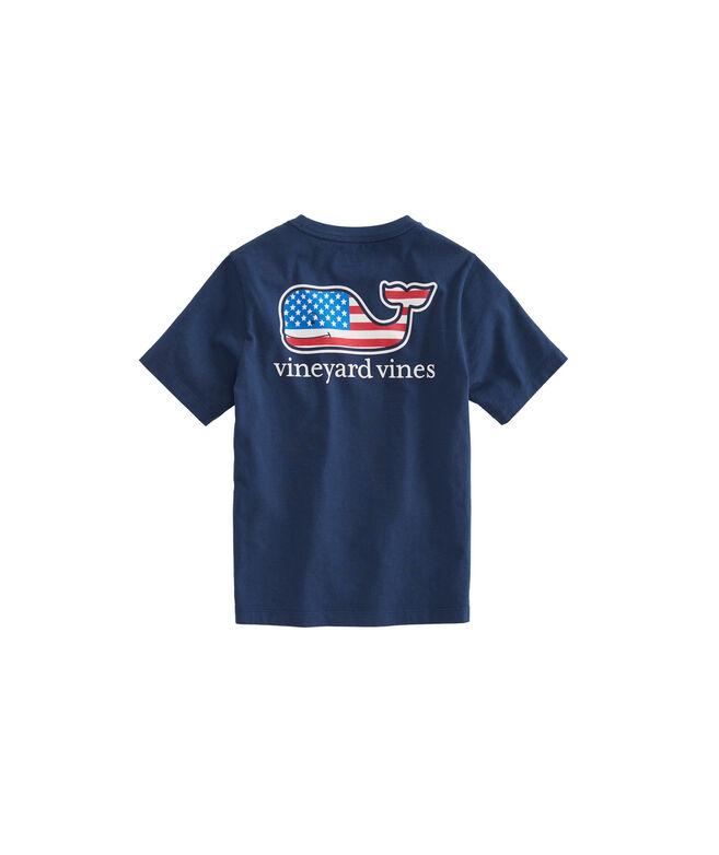 Boys Summer 2019 Flag Whale Pocket T-Shirt