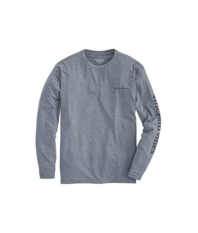 Long-Sleeve Heathered Performance Vented Boating T-Shirt