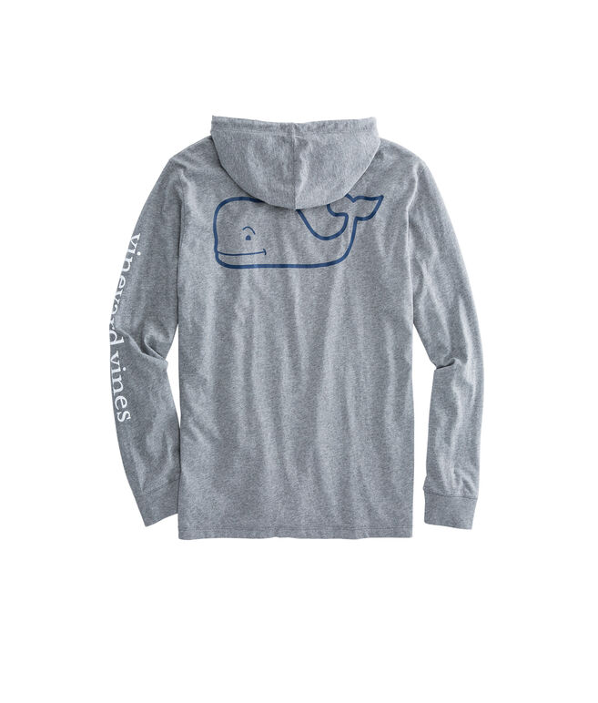 Long-Sleeve Two Toned Whale Hoodie Pocket T-Shirt