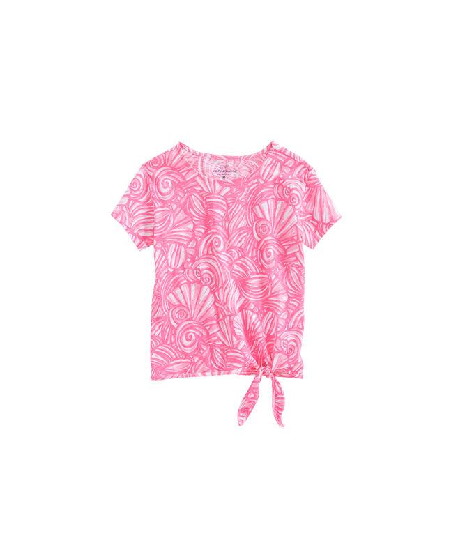 Girls Nautilus Shell Print Tie Side Tee