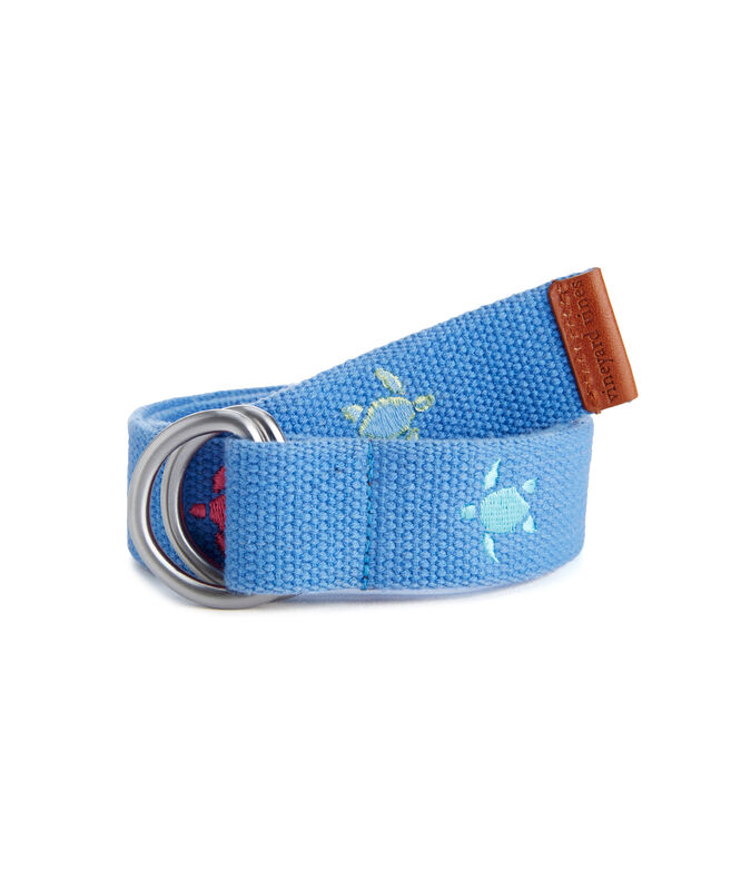 Shop Boys Turtle Embroidered D Ring Belt at vineyard vines