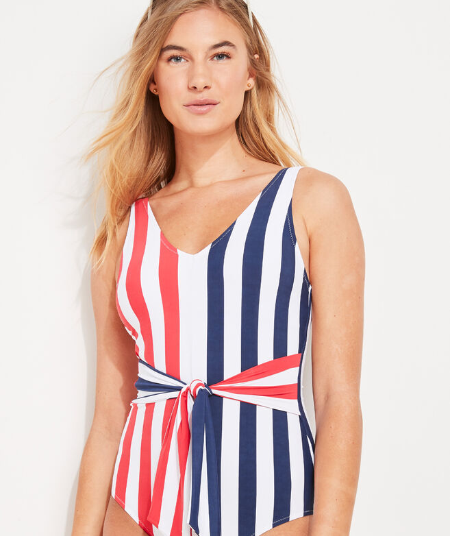 Americana Tie-Front One-Piece
