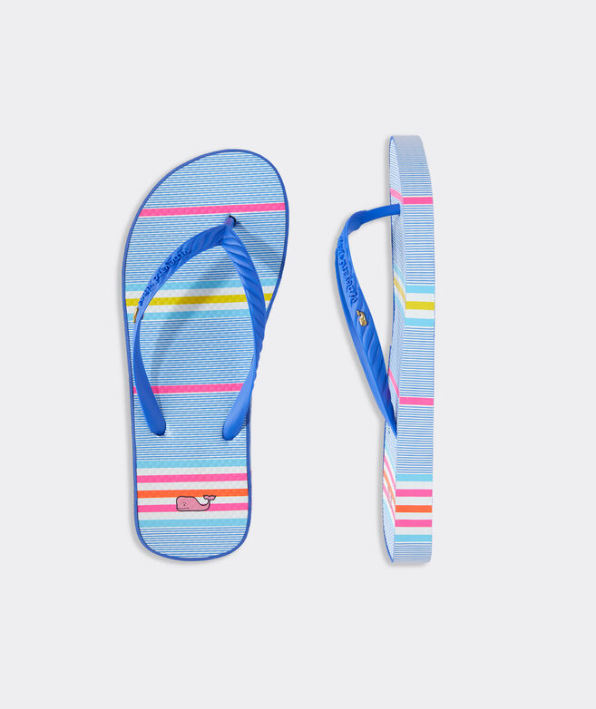 Beachy Stripe Printed Flip Flops