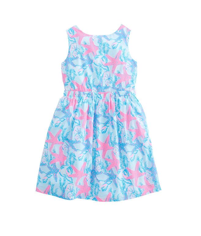 Girls Starfish & Conch Tie Back Dress