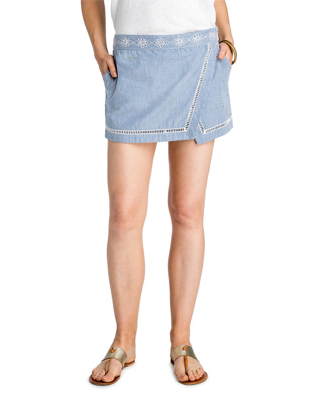 Sandbar Stripe Embroidered Skort