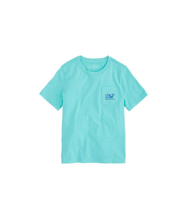 Boys Tropical Turtle Whale Fill Pocket T-Shirt