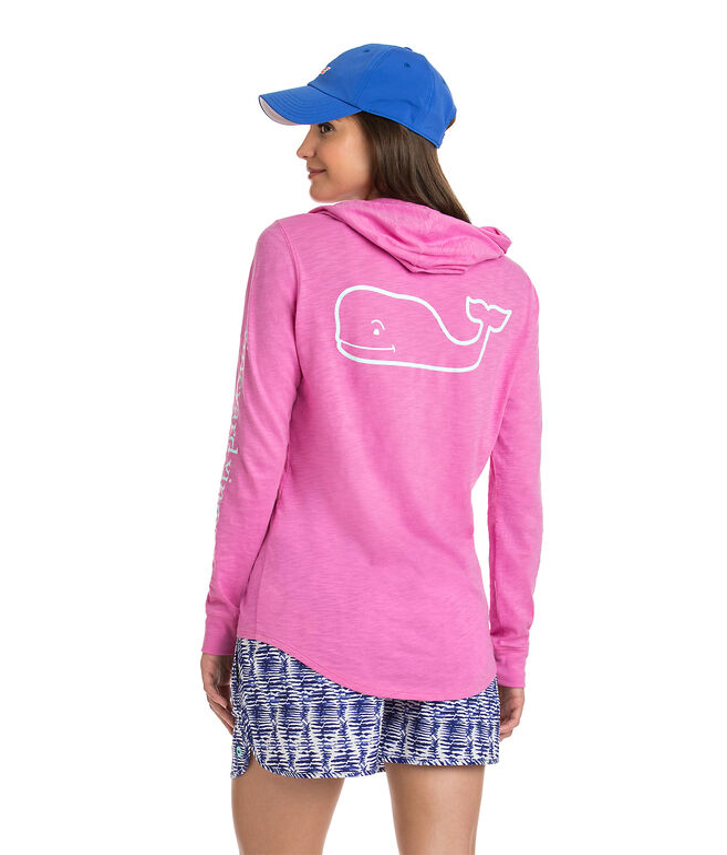 Long-Sleeve Slub Vintage Whale Hoodie Tee