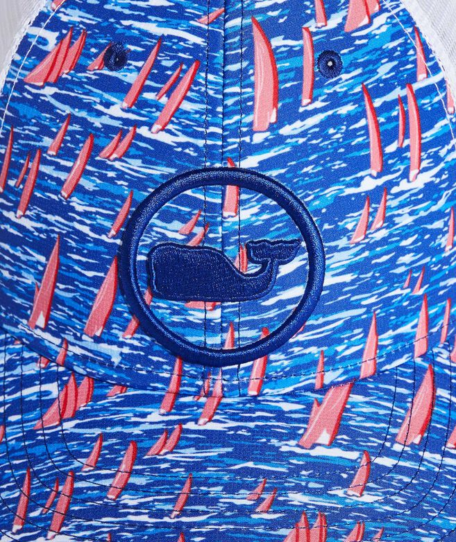 Sailing in St Barth's Whale Dot Performance Trucker Hat