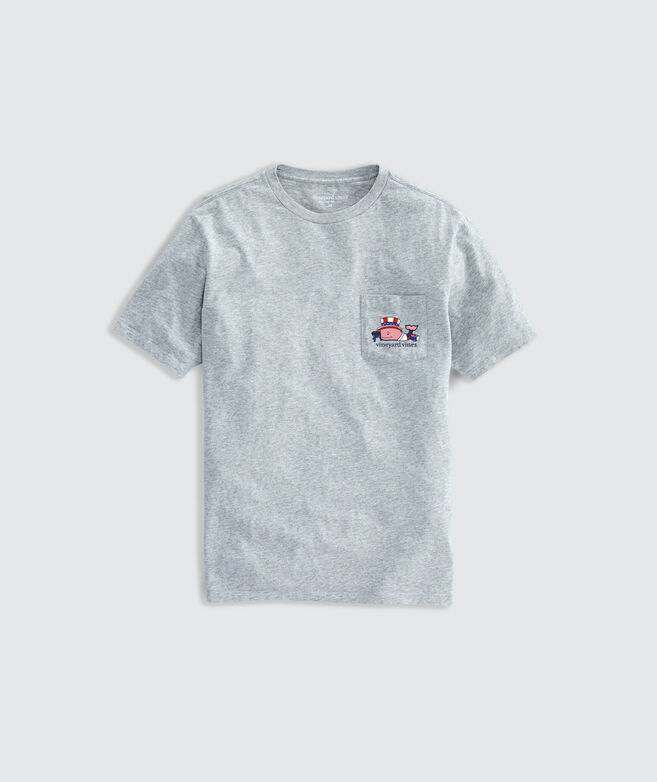Limited-Edition USA BBQ Whale Short-Sleeve Pocket Tee