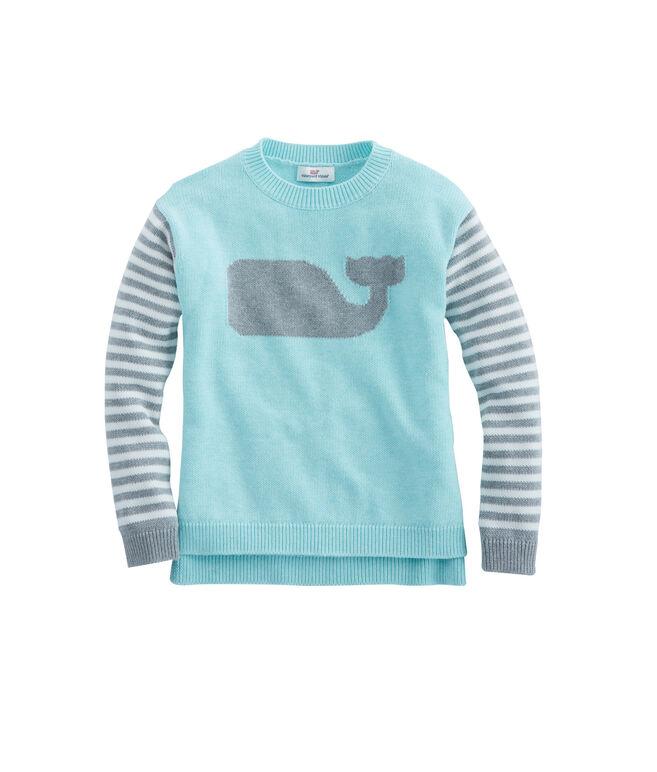 Girls Stripe Whale Intarsia Sweater