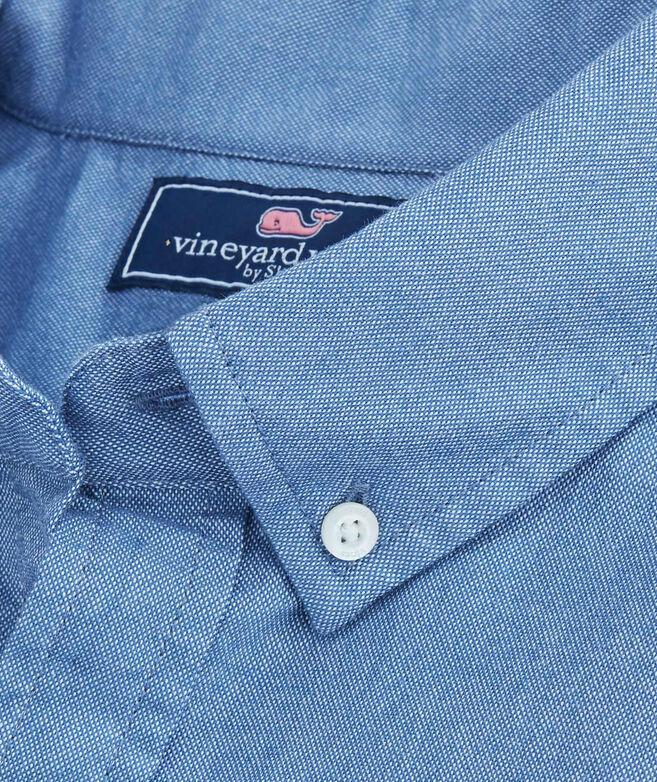OUTLET Men's Sandy Stripe Oxford Slim Short Sleeve Whale Shirt