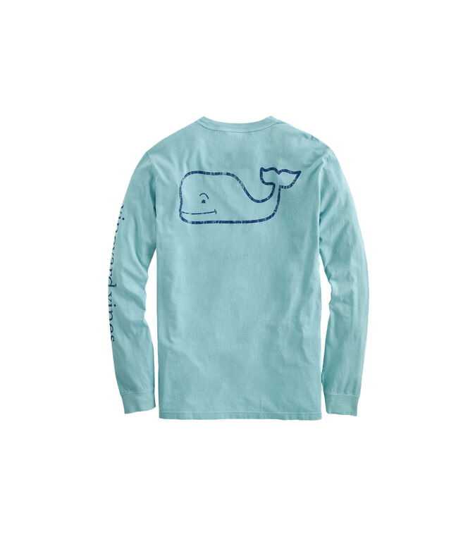 Garment-Dyed Vintage Whale Long-Sleeve Pocket Tee