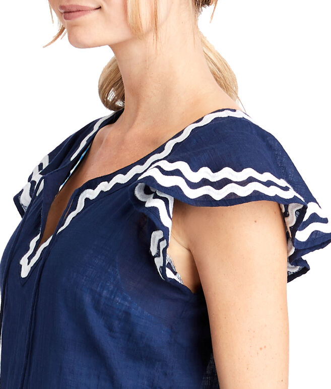 Solid Ruffle Sleeve Embroidered Cover-Up