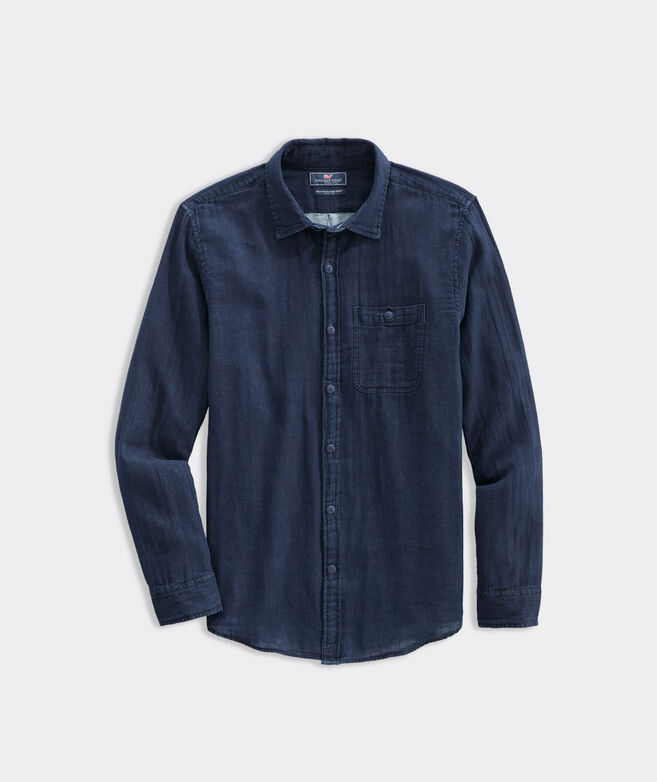 Slim Fit Indigo Double Layer Longshore Shirt