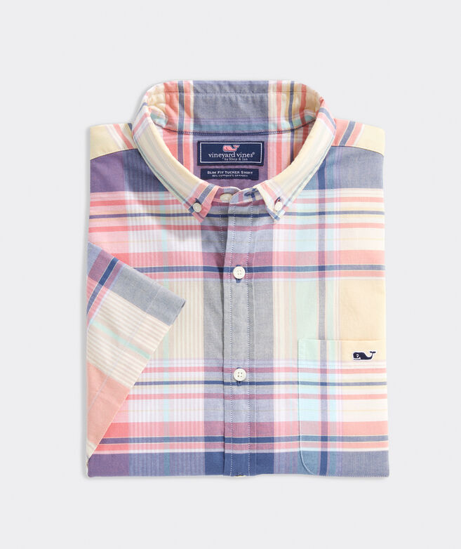 Slim Fit Wintucket Island Madras Tucker Short-Sleeve Button-Down Shirt