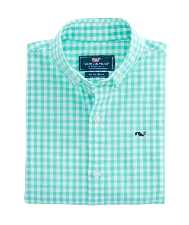 Boys Carleton Gingham Stretch Whale Shirt