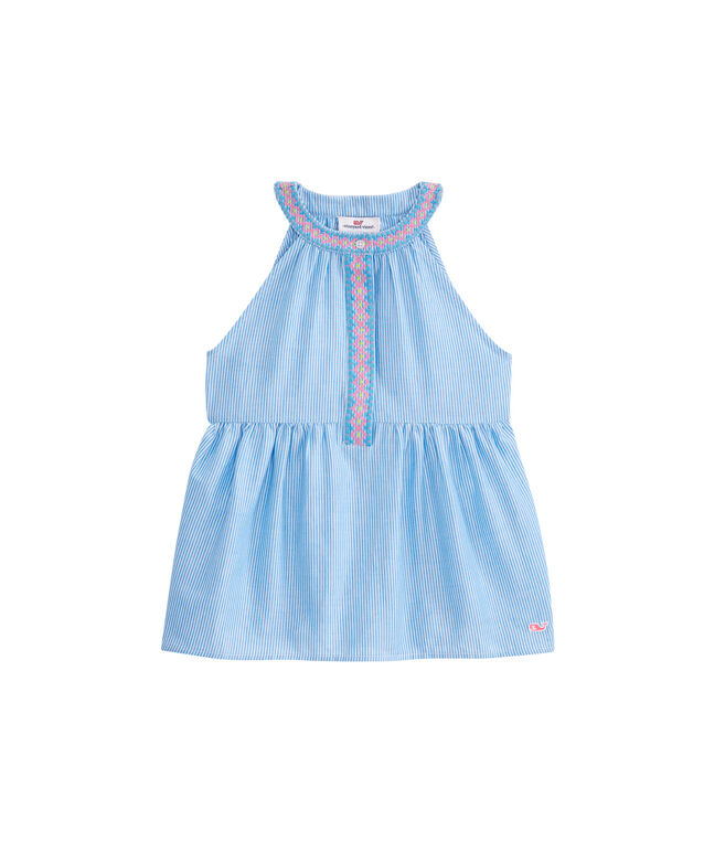 Girls Stripe Embroidered Sleeveless Top