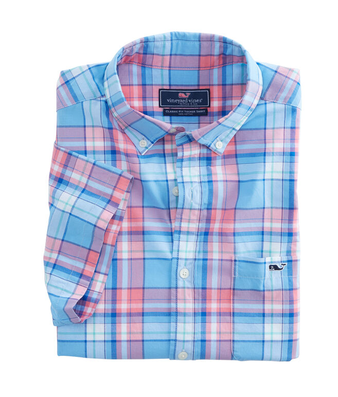 Short-Sleeve Bluff House Plaid Classic Tucker Shirt