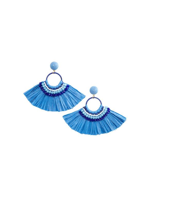 Raffia Beaded Hoop Earrings