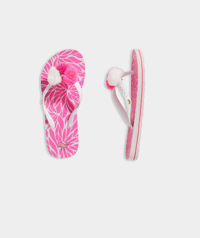 Girls' In Full Bloom Pom Pom Flip Flops