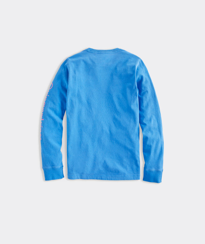 Boys Long-Sleeve Garment Dyed In Full Bloom Whale Dot Tee