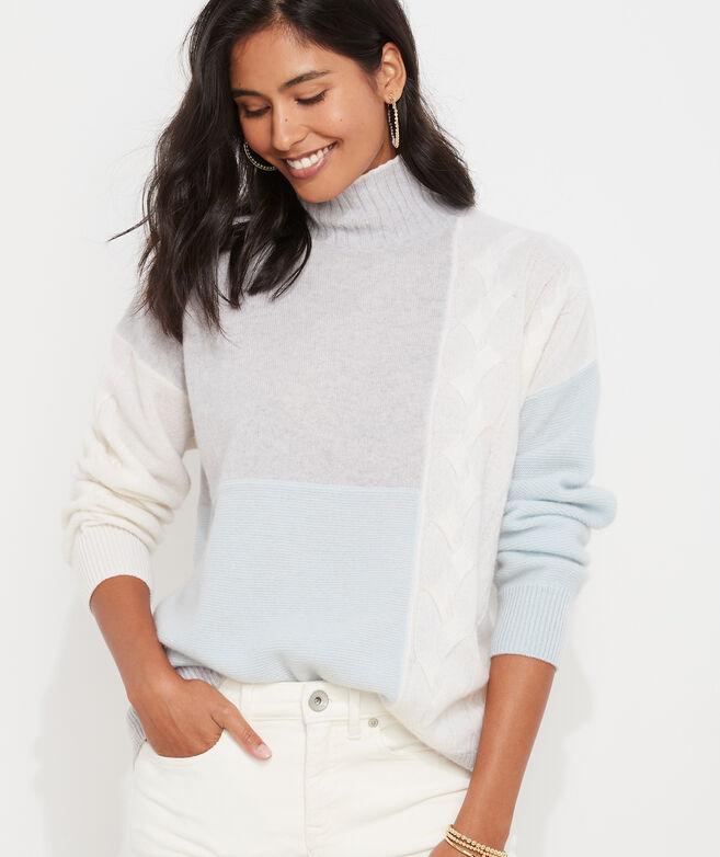 Cashmere Patchwork Mockneck Sweater