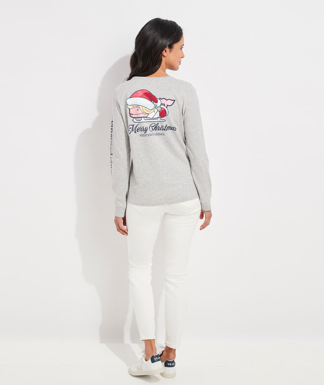Mrs. Claus Whale Long-Sleeve Pocket Tee