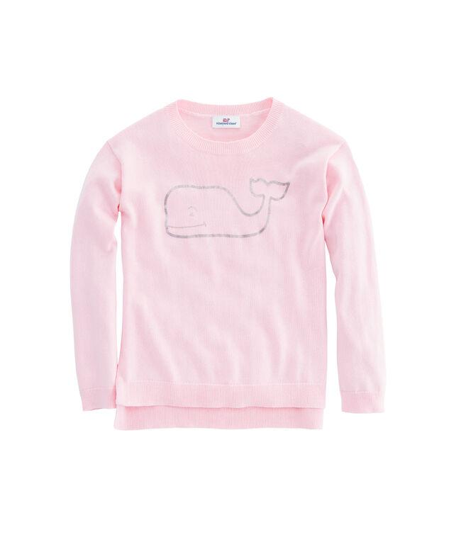 Girls Foil Whale Crewneck Sweater