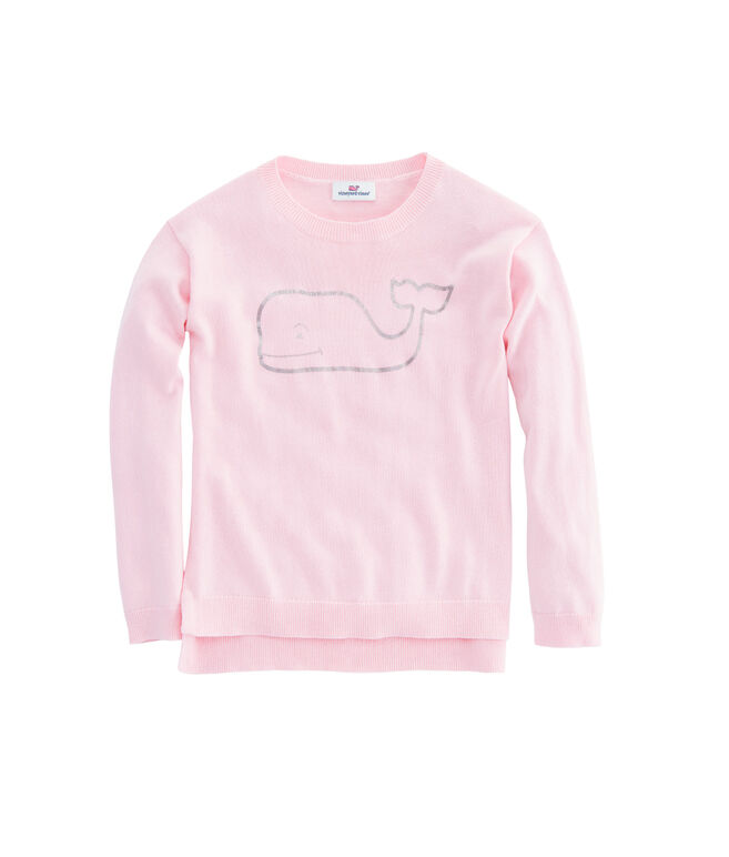 Girls Foil Whale Crewneck Sweater