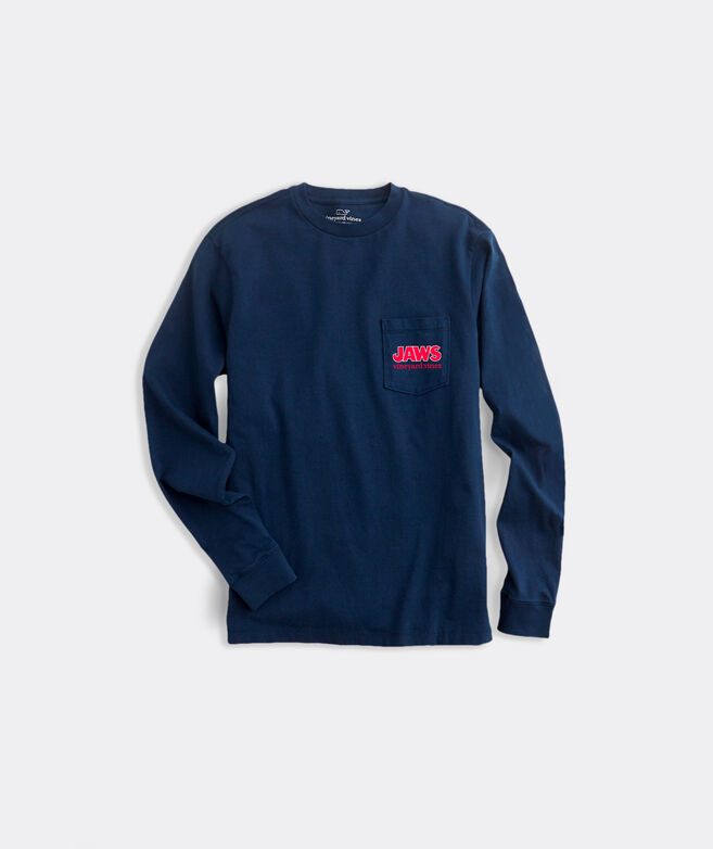 Adult Limited-Edition JAWS x vineyard vines Holly Jawly Long-Sleeve Pocket Tee