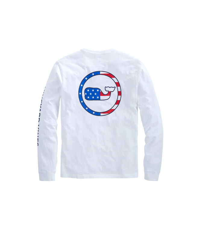 Long-Sleeve American Flag Whale Dot Outline T-Shirt