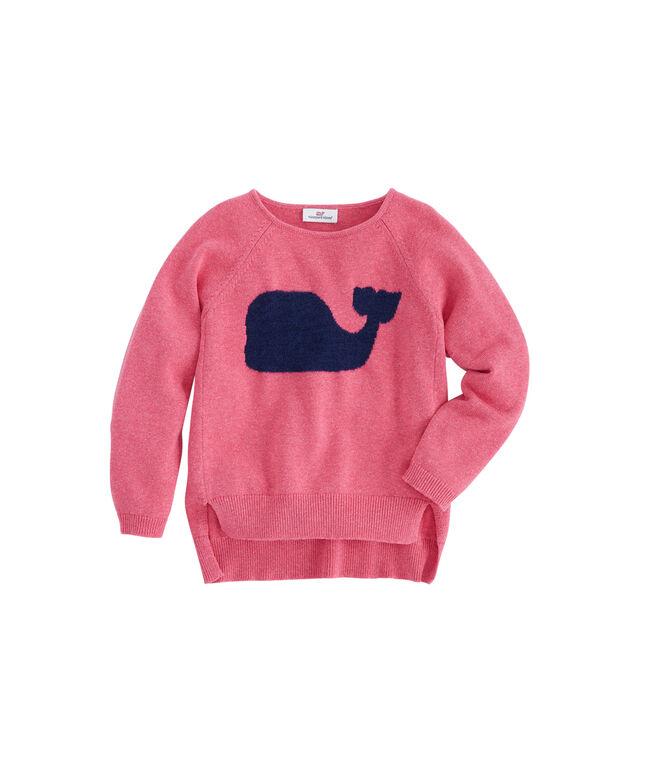 Girls Whale Intarsia Raglan Sweater