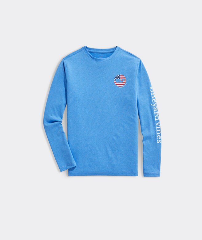Boys Long-Sleeve Americana Whale Disc Performance Tee