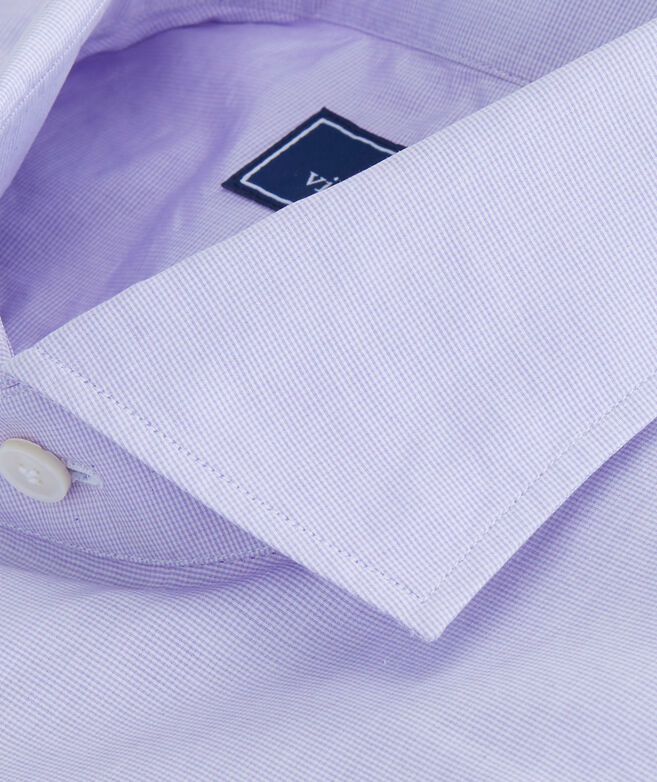 Purple Micro Check Spread Collar Greenwich Shirt