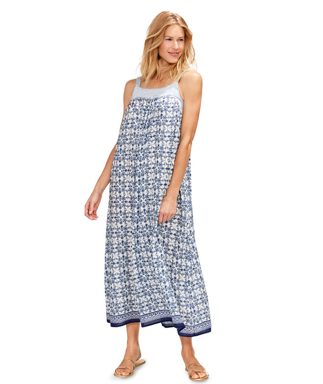 Tile Border Print Maxi Dress